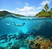 Hermosos arrecifes de coral con una gran cantidad de peces y una mujer — Foto de Stock