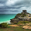 Watch tower in the ancient city on the Caribbean coast in Tulum - Stock Photo