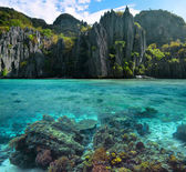 Photo of sharp cliffs and colorful coral reefs in the Philippine — Stock Photo