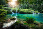 Cascades National Park in Guatemala Semuc Champey at sunset — Stock Photo
