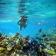 Underwater adventure woman on coral reef — Stock Photo #26812755