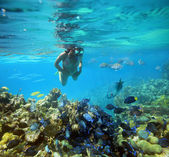 Onderwateravontuur vrouw op koraal rif — Stockfoto