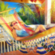 Beautiful woman relaxes on a hammock in a tropical garden — Stock Photo