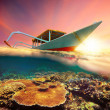 Diving boat at sunset — Stock Photo