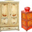 Stockfoto: Old painted wooden cabinets