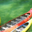 Three plastic canoe — Stock Photo