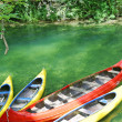 Stock Photo: Empty canoes