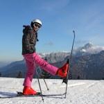 Girl on skis — Stock Photo