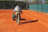 Válcování tenisový kurt — Stock fotografie