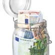 Постер, плакат: Euro banknotes in jar