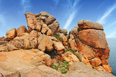 Pink granite coast Ploumanach — Stock Photo