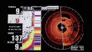 Marine GPS and sonar — Stock Video