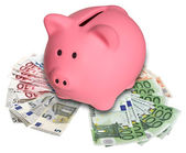Piggy Bank on a pile euro banknotes — Stock Photo
