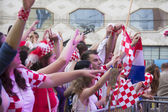 Croatian football fans — Stock Photo