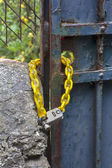 Iron gates locked chain  — Foto de Stock