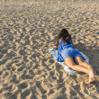 Girl on a sandy beach — Stock Photo #51103977