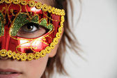 Red Venetian Mask with feathers — Stok fotoğraf
