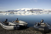 Icebergs and rafting boats, Joekulsarlon, Iceland — Stock Photo