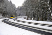 Winter road with bus — Stock fotografie