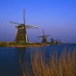 Kinderdijk, windmills - Stock Photo