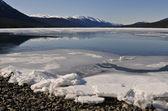Rocky Mountains, frozen lake — Stock Photo