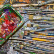 Paintbrushes and colors - Stock Photo