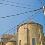 Telephone pole and church — Stock Photo #19217405
