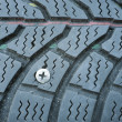 Punctured tire - Stockfoto