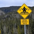 Warning road sign for motorbikers — Stock Photo