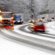 Winter road, snow plow and cars — Stock Photo #21806509