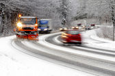Winter road, snow plow and cars — Stock fotografie