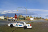 Police car dummy, Haines Junction, Yukon, Canada — Stock Photo