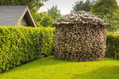 Round woodpile — Stock Photo