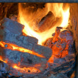 Old fireplace, stove, fire — Stock Photo #13198927