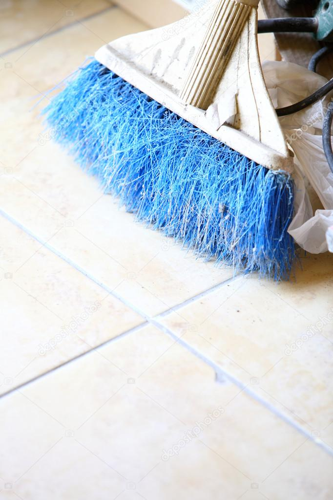 Blue broom Dust Pan and Brush indoor  Stock Photo #13267011