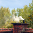 An old chimney and smoke on a private house — Stock Photo
