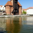Old port in gdansk - the free city of Gdansk - 2009 Danzig, Poland, famous wooden crane from the 13th century — Stock Photo