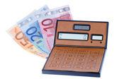 Calculator and euromoney note, bill — Stock Photo