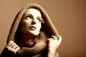 Sonbahar kadını taze kız glamour göz-kirpikleri — Stok fotoğraf