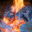 Old fireplace, stove, fire — Stock Photo #13823140