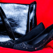 Black female shoes and handbag on red background — Stock Photo