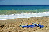 Pair of swimfins on the sand at sea — Stockfoto