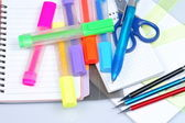 Back to school, close-ups, school supplies — Stock Photo