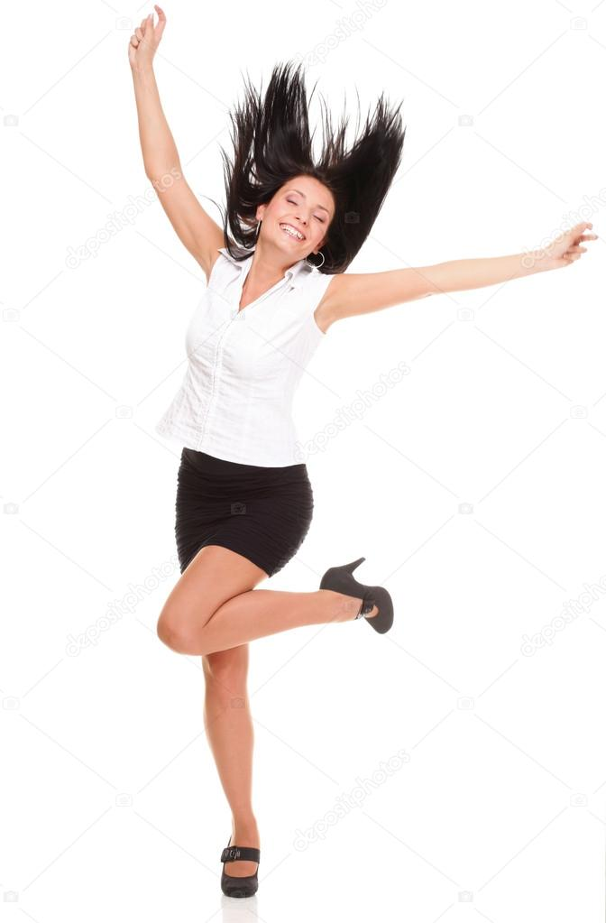 A joyous young female business executive celebrating success with raised hands on white — Stock Photo #14044317