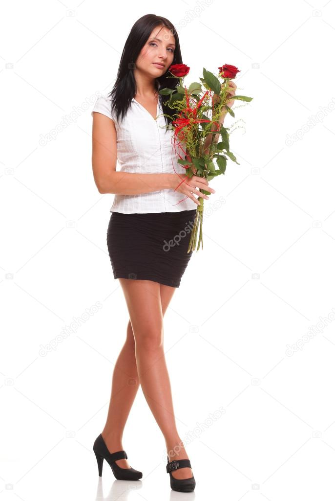 Beautiful young girl posing with a red rose woman isolated on white background — Stock Photo #14044340
