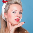 Cheerful pin up girl - retro style portrait — Stock Photo #14065319