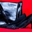 Black female shoes and handbag on red background — Stock Photo #14616087