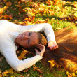 Woman girl portret in autumn leaf — Stock Photo #14848927