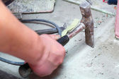 Hammer manual mason work floor tool — Stock Photo