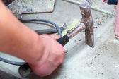 Hammer manual mason work floor tool — Stock Photo